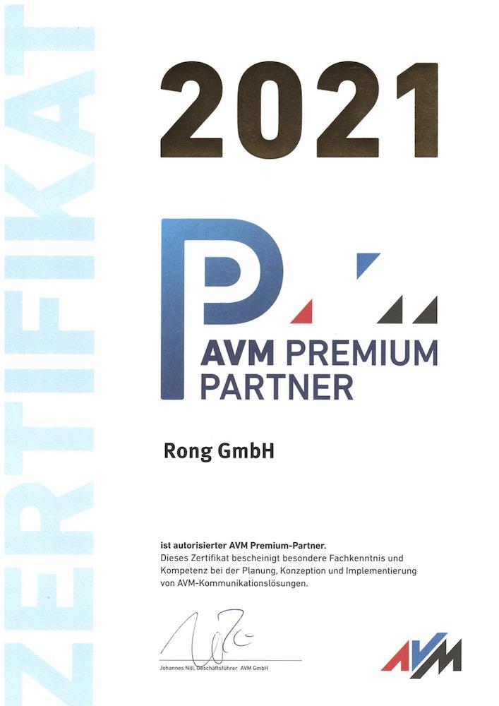 Rong GmbH ist AVM Premium Partner